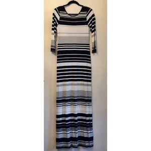 Calypso St. Barth Black & White Striped Maxi Dress